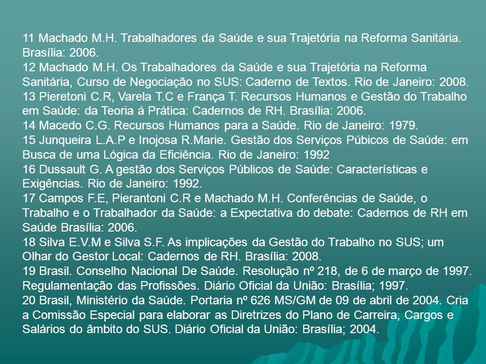 11 Machado M.H. Trabalhadores da Saúde e sua Trajetória na Reforma Sanitária. Brasília: 2006. 12 Machado M.H. Os Trabalhadores da Saúde e sua Trajetór