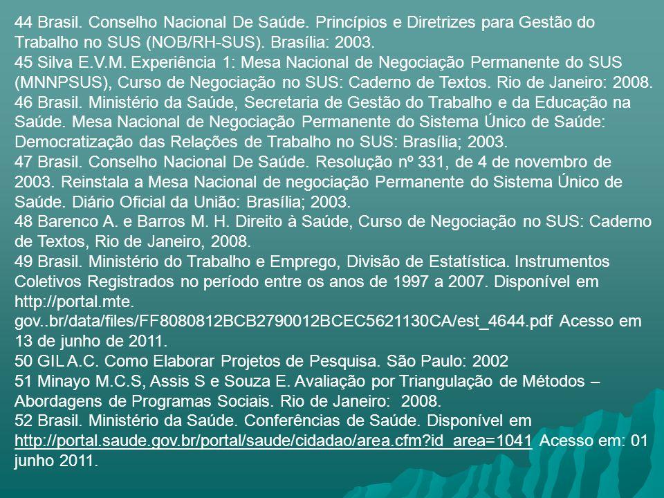 44 Brasil. Conselho Nacional De Saúde. Princípios e Diretrizes para Gestão do Trabalho no SUS (NOB/RH-SUS). Brasília: 2003. 45 Silva E.V.M. Experiênci