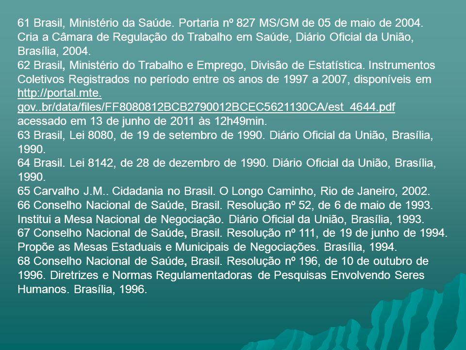61 Brasil, Ministério da Saúde. Portaria nº 827 MS/GM de 05 de maio de 2004. Cria a Câmara de Regulação do Trabalho em Saúde, Diário Oficial da União,