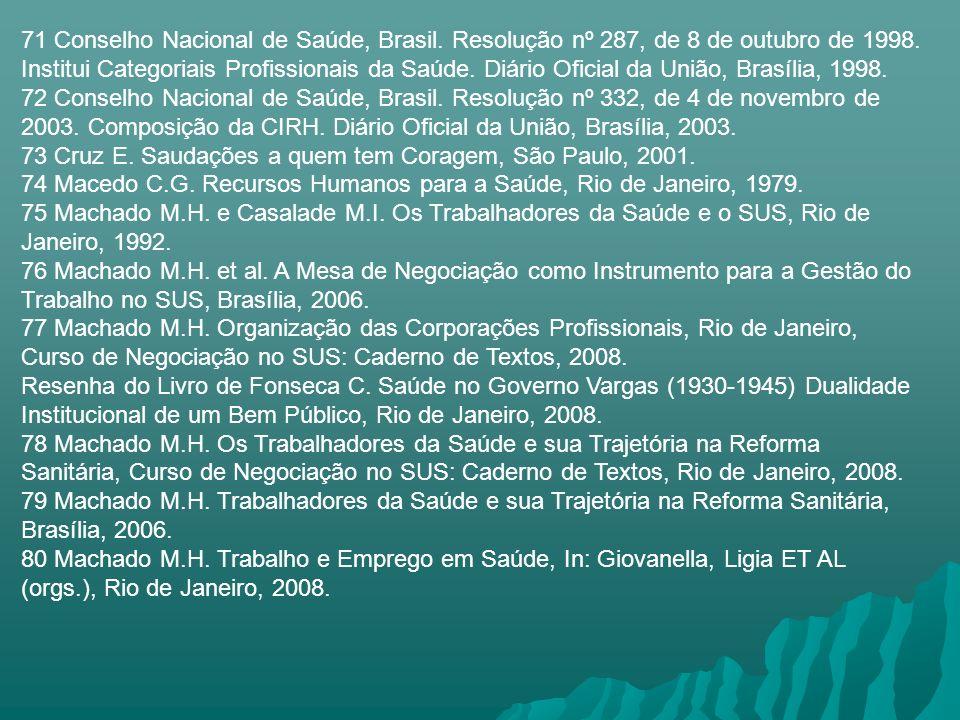 71 Conselho Nacional de Saúde, Brasil. Resolução nº 287, de 8 de outubro de 1998. Institui Categoriais Profissionais da Saúde. Diário Oficial da União