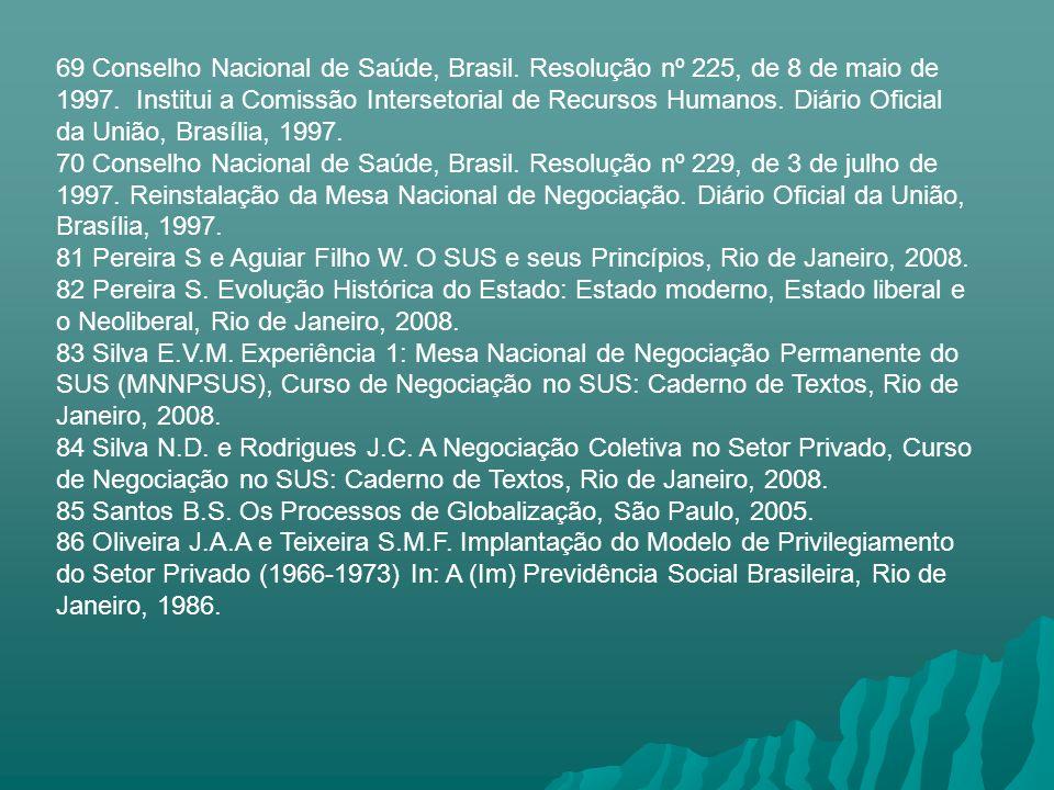 69 Conselho Nacional de Saúde, Brasil. Resolução nº 225, de 8 de maio de 1997. Institui a Comissão Intersetorial de Recursos Humanos. Diário Oficial d