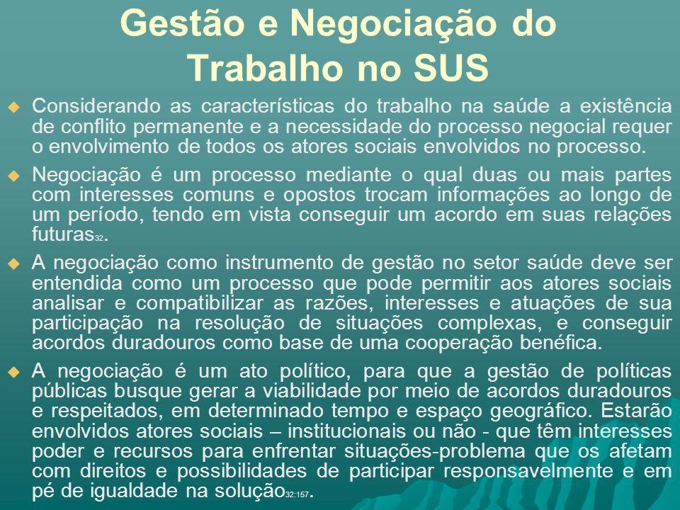 Gestão e Negociação do Trabalho no SUS Considerando as características do trabalho na saúde a existência de conflito permanente e a necessidade do pro
