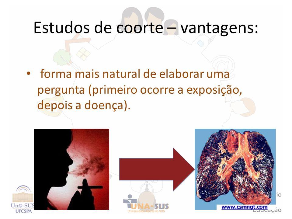 Estudos de coorte – vantagens: forma mais natural de elaborar uma pergunta (primeiro ocorre a exposição, depois a doença).