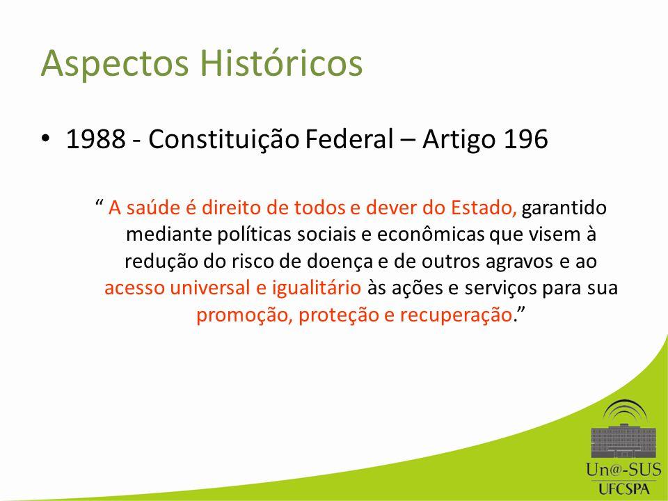 Aspectos Históricos 1988 - Constituição Federal – Artigo 196 A saúde é direito de todos e dever do Estado, garantido mediante políticas sociais e econ