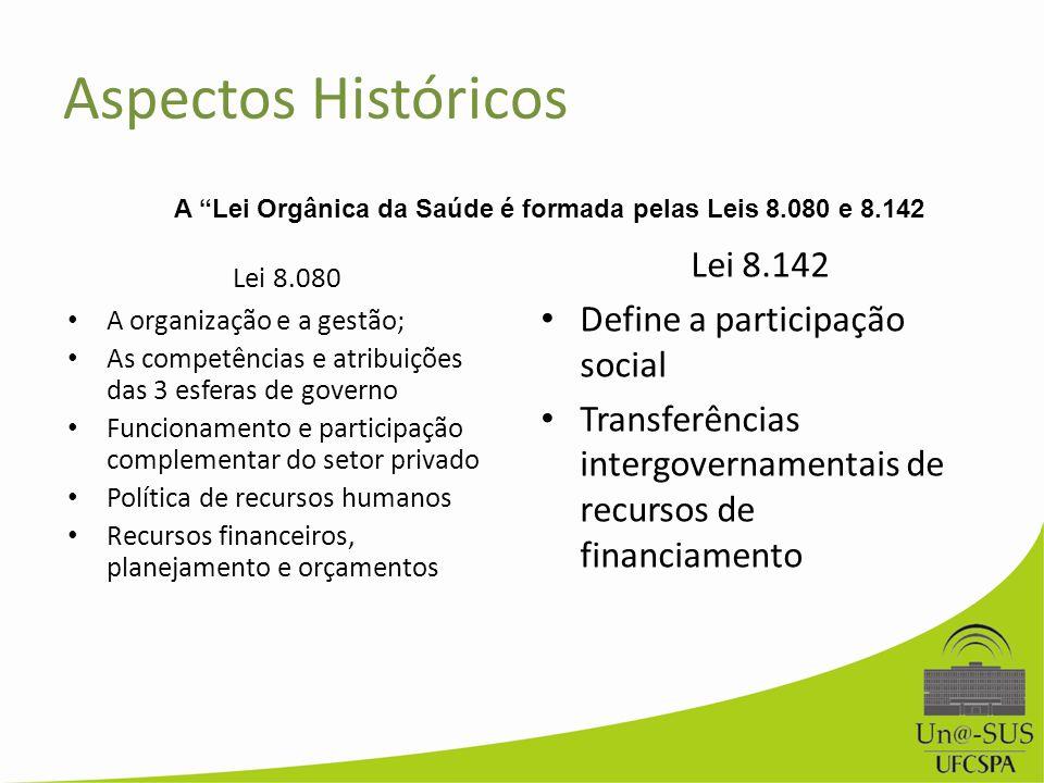 Aspectos Históricos Lei 8.080 A organização e a gestão; As competências e atribuições das 3 esferas de governo Funcionamento e participação complement