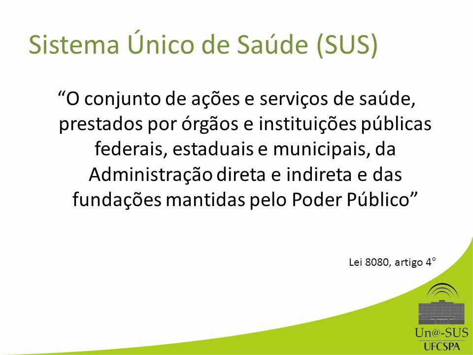 Sistema Único de Saúde (SUS) O conjunto de ações e serviços de saúde, prestados por órgãos e instituições públicas federais, estaduais e municipais, d