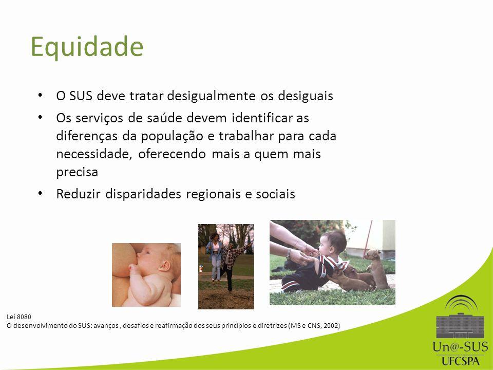 O SUS deve tratar desigualmente os desiguais Os serviços de saúde devem identificar as diferenças da população e trabalhar para cada necessidade, ofer