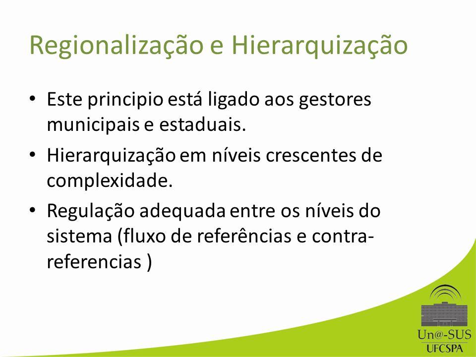Regionalização e Hierarquização Este principio está ligado aos gestores municipais e estaduais. Hierarquização em níveis crescentes de complexidade. R