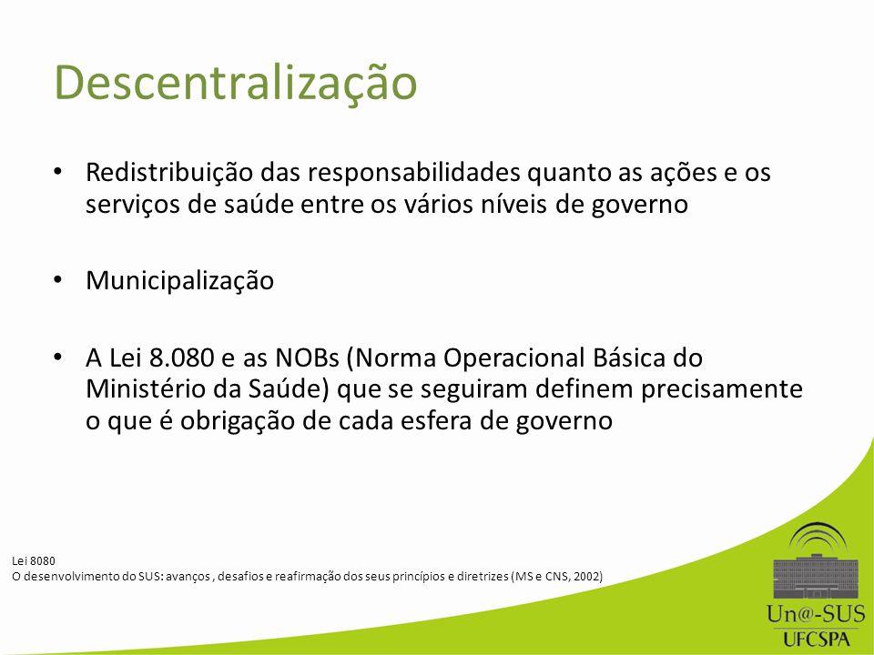 Descentralização Redistribuição das responsabilidades quanto as ações e os serviços de saúde entre os vários níveis de governo Municipalização A Lei 8
