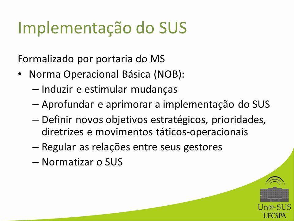 Implementação do SUS Formalizado por portaria do MS Norma Operacional Básica (NOB): – Induzir e estimular mudanças – Aprofundar e aprimorar a implemen