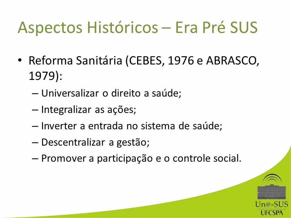 Aspectos Históricos – Era Pré SUS Reforma Sanitária (CEBES, 1976 e ABRASCO, 1979): – Universalizar o direito a saúde; – Integralizar as ações; – Inver