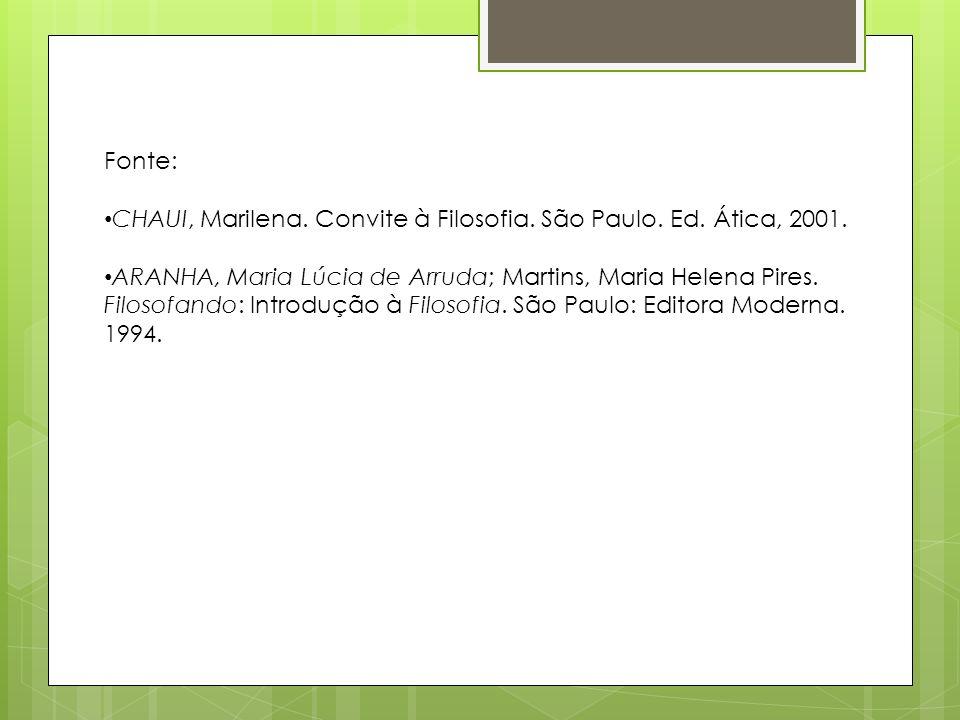 Fonte: CHAUI, Marilena. Convite à Filosofia. São Paulo. Ed. Ática, 2001. ARANHA, Maria Lúcia de Arruda; Martins, Maria Helena Pires. Filosofando: Intr