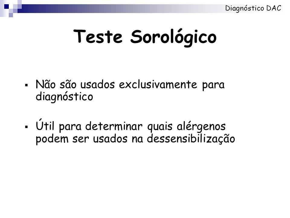 Teste Sorológico Não são usados exclusivamente para diagnóstico Útil para determinar quais alérgenos podem ser usados na dessensibilização Diagnóstico