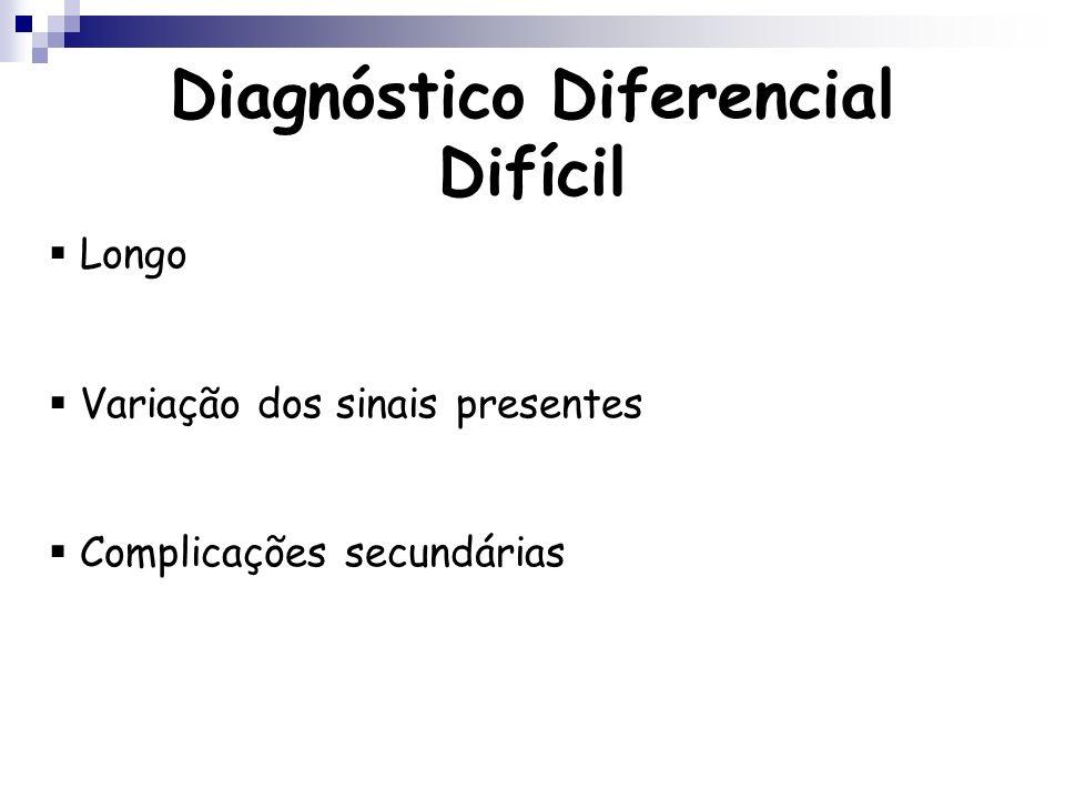 Diagnóstico Diferencial Difícil Longo Variação dos sinais presentes Complicações secundárias
