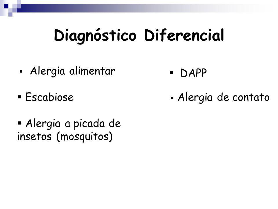 Diagnóstico Diferencial Alergia alimentar DAPP Escabiose Alergia a picada de insetos (mosquitos) Alergia de contato