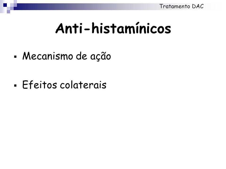 Anti-histamínicos Mecanismo de ação Efeitos colaterais Tratamento DAC