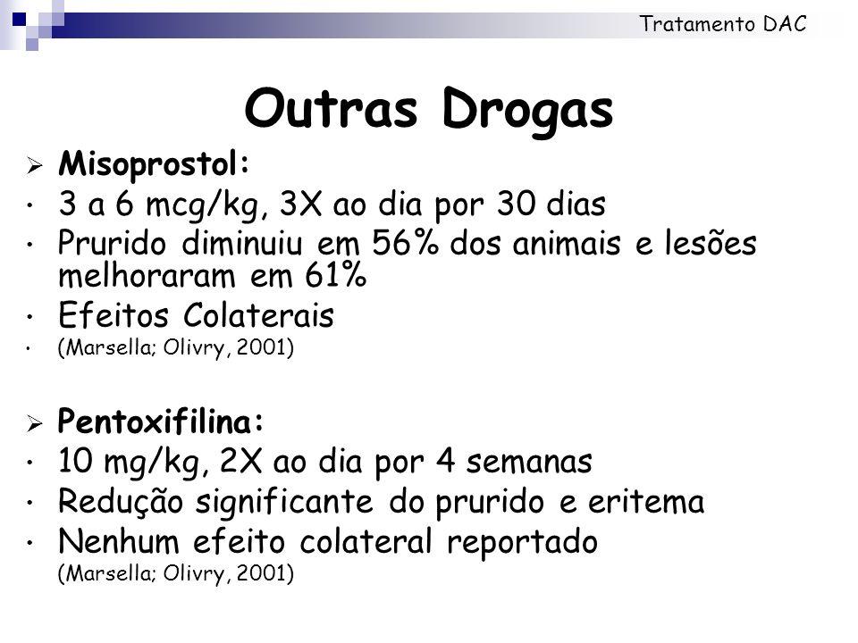 Outras Drogas Misoprostol: 3 a 6 mcg/kg, 3X ao dia por 30 dias Prurido diminuiu em 56% dos animais e lesões melhoraram em 61% Efeitos Colaterais (Mars