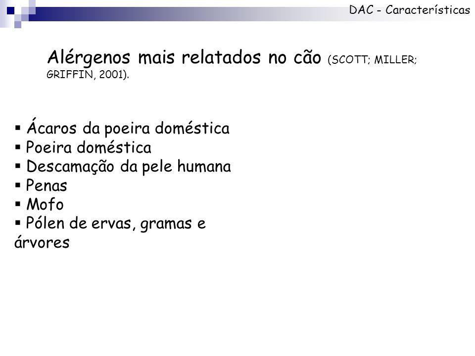 Alérgenos mais relatados no cão (SCOTT; MILLER; GRIFFIN, 2001). Ácaros da poeira doméstica Poeira doméstica Descamação da pele humana Penas Mofo Pólen
