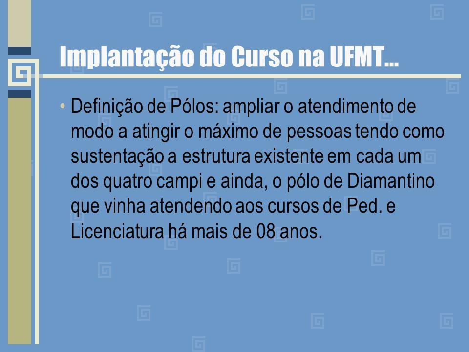 Implantação do Curso na UFMT... Definição de Pólos: ampliar o atendimento de modo a atingir o máximo de pessoas tendo como sustentação a estrutura exi