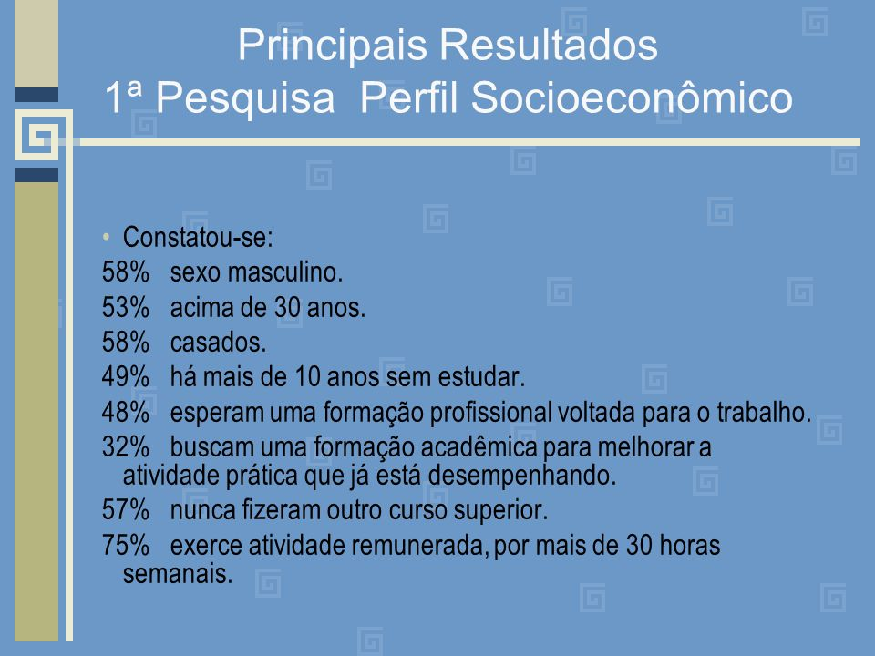 Principais Resultados 1ª Pesquisa Perfil Socioeconômico Constatou-se: 58% sexo masculino. 53% acima de 30 anos. 58% casados. 49% há mais de 10 anos se