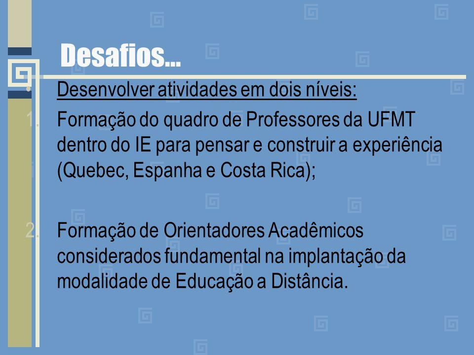 Desafios... Desenvolver atividades em dois níveis: 1.Formação do quadro de Professores da UFMT dentro do IE para pensar e construir a experiência (Que