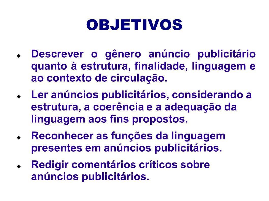 OBJETIVOS Descrever o gênero anúncio publicitário quanto à estrutura, finalidade, linguagem e ao contexto de circulação. Ler anúncios publicitários, c