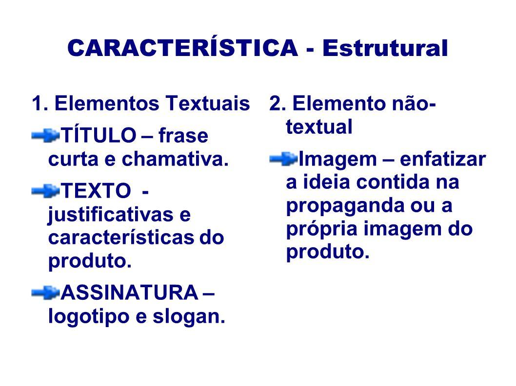 CARACTERÍSTICA - Estrutural 1.Elementos Textuais TÍTULO – frase curta e chamativa.