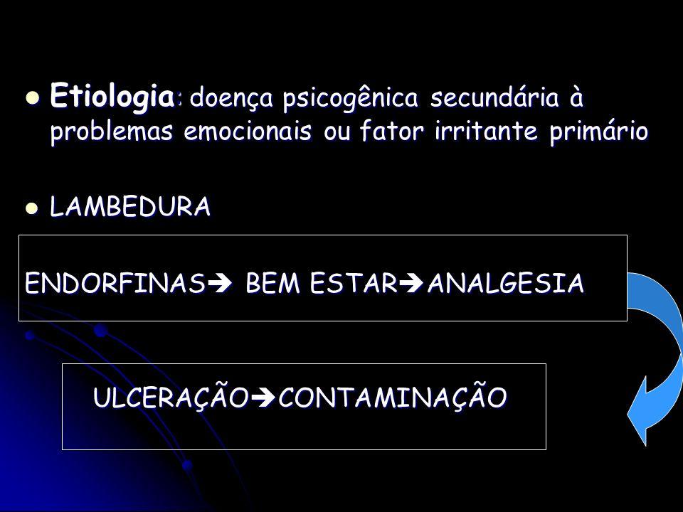 Etiologia : doença psicogênica secundária à problemas emocionais ou fator irritante primário Etiologia : doença psicogênica secundária à problemas emo