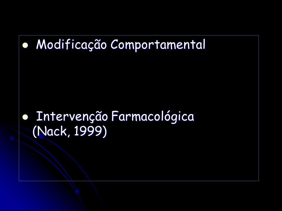 Modificação Comportamental Modificação Comportamental Intervenção Farmacológica (Nack, 1999) Intervenção Farmacológica (Nack, 1999)