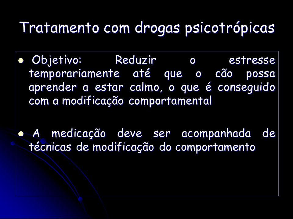 Tratamento com drogas psicotrópicas Objetivo: Reduzir o estresse temporariamente até que o cão possa aprender a estar calmo, o que é conseguido com a