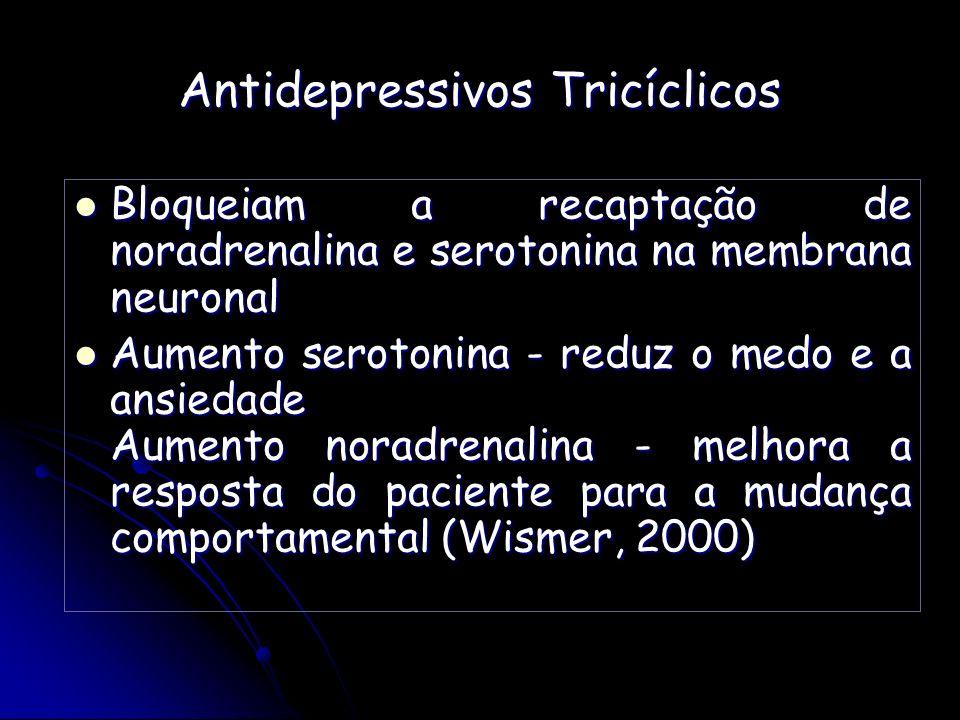Antidepressivos Tricíclicos Bloqueiam a recaptação de noradrenalina e serotonina na membrana neuronal Bloqueiam a recaptação de noradrenalina e seroto