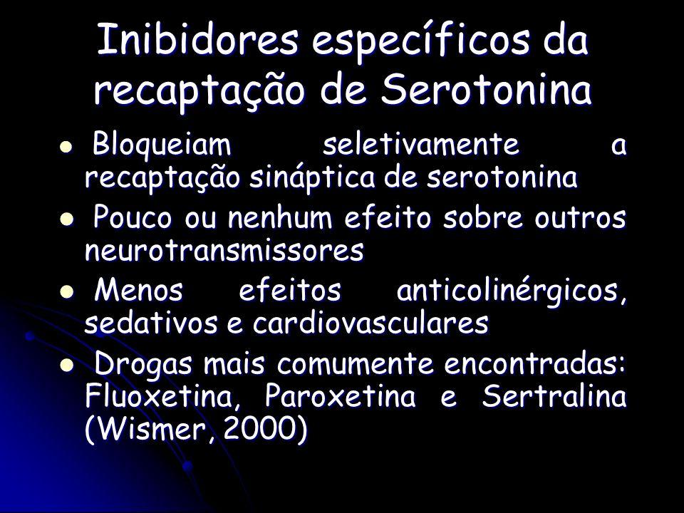 Inibidores específicos da recaptação de Serotonina Bloqueiam seletivamente a recaptação sináptica de serotonina Bloqueiam seletivamente a recaptação s
