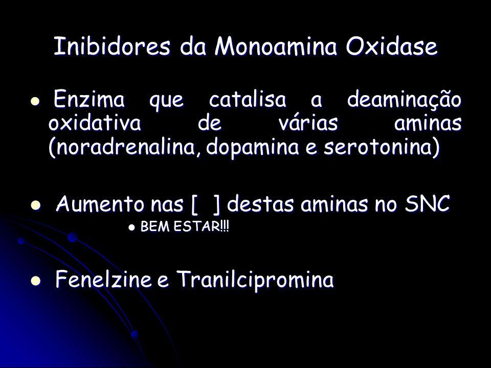 Inibidores da Monoamina Oxidase Enzima que catalisa a deaminação oxidativa de várias aminas (noradrenalina, dopamina e serotonina) Enzima que catalisa