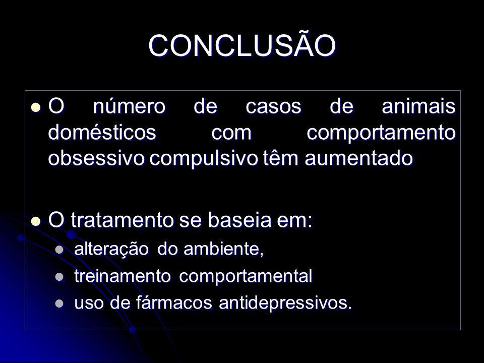 CONCLUSÃO O número de casos de animais domésticos com comportamento obsessivo compulsivo têm aumentado O número de casos de animais domésticos com com