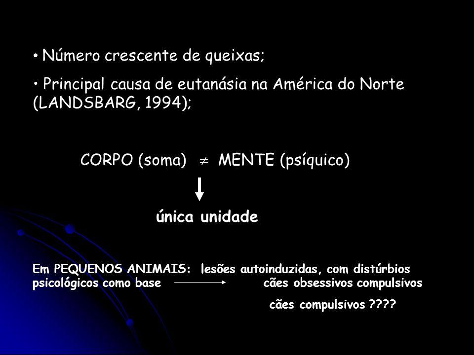 Número crescente de queixas; Principal causa de eutanásia na América do Norte (LANDSBARG, 1994); CORPO (soma) MENTE (psíquico) única unidade Em PEQUEN