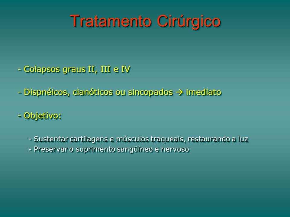 Tratamento Cirúrgico - Colapsos graus II, III e IV - Dispnéicos, cianóticos ou sincopados imediato - Objetivo: - Sustentar cartilagens e músculos traqueais, restaurando a luz - Preservar o suprimento sangüíneo e nervoso - Colapsos graus II, III e IV - Dispnéicos, cianóticos ou sincopados imediato - Objetivo: - Sustentar cartilagens e músculos traqueais, restaurando a luz - Preservar o suprimento sangüíneo e nervoso