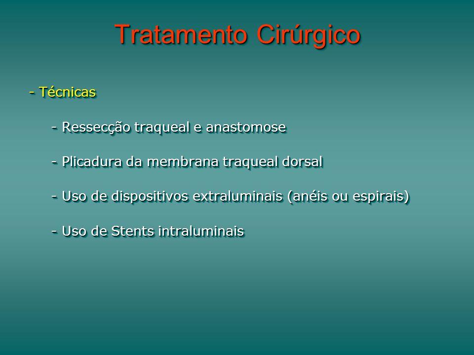 Tratamento Cirúrgico - Técnicas - Ressecção traqueal e anastomose - Ressecção traqueal e anastomose - Plicadura da membrana traqueal dorsal - Plicadura da membrana traqueal dorsal - Uso de dispositivos extraluminais (anéis ou espirais) - Uso de dispositivos extraluminais (anéis ou espirais) - Uso de Stents intraluminais - Uso de Stents intraluminais - Técnicas - Ressecção traqueal e anastomose - Ressecção traqueal e anastomose - Plicadura da membrana traqueal dorsal - Plicadura da membrana traqueal dorsal - Uso de dispositivos extraluminais (anéis ou espirais) - Uso de dispositivos extraluminais (anéis ou espirais) - Uso de Stents intraluminais - Uso de Stents intraluminais