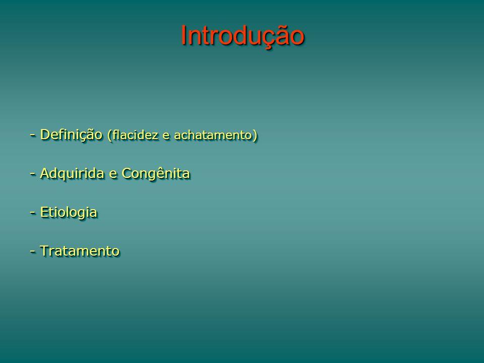 IntroduçãoIntrodução - Definição (flacidez e achatamento) - Adquirida e Congênita - Etiologia - Tratamento - Definição (flacidez e achatamento) - Adquirida e Congênita - Etiologia - Tratamento