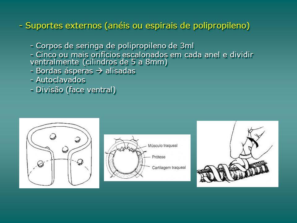 - Suportes externos (anéis ou espirais de polipropileno) - Corpos de seringa de polipropileno de 3ml - Cinco ou mais orifícios escalonados em cada anel e dividir ventralmente (cilindros de 5 a 8mm) - Bordas ásperas alisadas - Autoclavados - Divisão (face ventral) - Suportes externos (anéis ou espirais de polipropileno) - Corpos de seringa de polipropileno de 3ml - Cinco ou mais orifícios escalonados em cada anel e dividir ventralmente (cilindros de 5 a 8mm) - Bordas ásperas alisadas - Autoclavados - Divisão (face ventral)