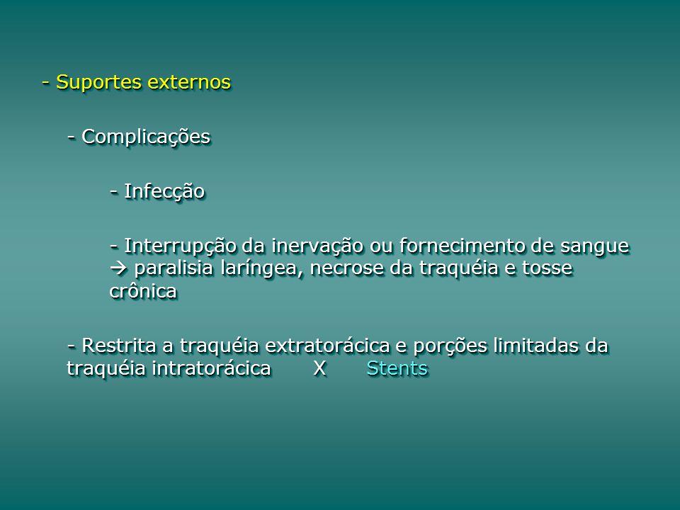 - Suportes externos - Complicações - Infecção - Interrupção da inervação ou fornecimento de sangue paralisia laríngea, necrose da traquéia e tosse crônica - Restrita a traquéia extratorácica e porções limitadas da traquéia intratorácicaX Stents - Suportes externos - Complicações - Infecção - Interrupção da inervação ou fornecimento de sangue paralisia laríngea, necrose da traquéia e tosse crônica - Restrita a traquéia extratorácica e porções limitadas da traquéia intratorácicaX Stents