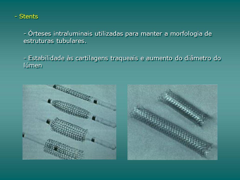 - Stents - Órteses intraluminais utilizadas para manter a morfologia de estruturas tubulares. - Estabilidade às cartilagens traqueais e aumento do diâ
