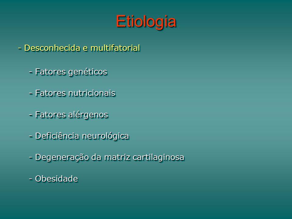 EtiologiaEtiologia - Desconhecida e multifatorial - Fatores genéticos - Fatores nutricionais - Fatores alérgenos - Deficiência neurológica - Degeneração da matriz cartilaginosa - Obesidade - Desconhecida e multifatorial - Fatores genéticos - Fatores nutricionais - Fatores alérgenos - Deficiência neurológica - Degeneração da matriz cartilaginosa - Obesidade