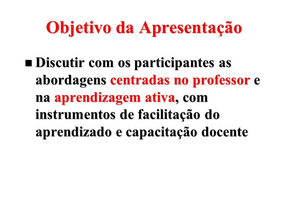 Objetivo da Apresentação Discutir com os participantes as abordagens centradas no professor e na aprendizagem ativa, com instrumentos de facilitação d