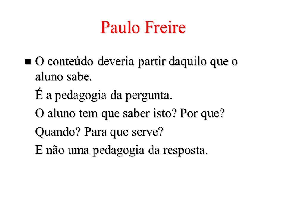 Paulo Freire O conteúdo deveria partir daquilo que o aluno sabe. O conteúdo deveria partir daquilo que o aluno sabe. É a pedagogia da pergunta. O alun