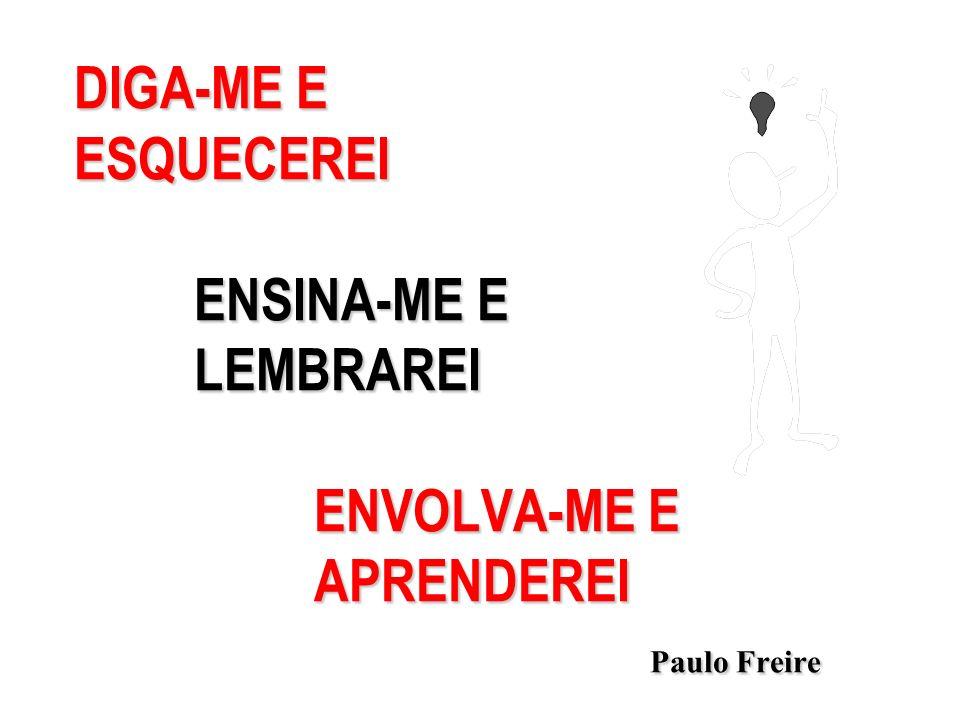 DIGA-ME E ESQUECEREI ENSINA-ME E LEMBRAREI ENVOLVA-ME E APRENDEREI Paulo Freire