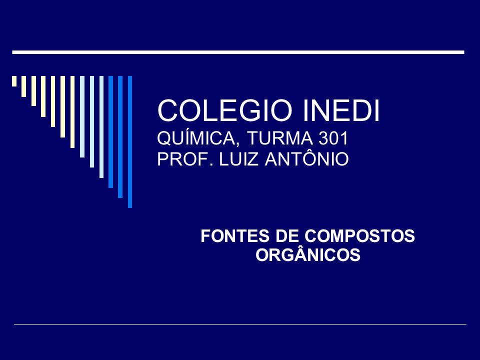 COLEGIO INEDI QUÍMICA, TURMA 301 PROF. LUIZ ANTÔNIO FONTES DE COMPOSTOS ORGÂNICOS