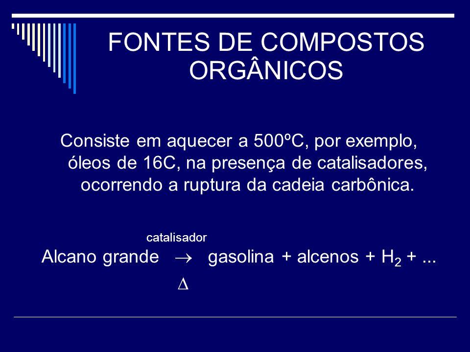 FONTES DE COMPOSTOS ORGÂNICOS Consiste em aquecer a 500ºC, por exemplo, óleos de 16C, na presença de catalisadores, ocorrendo a ruptura da cadeia carb
