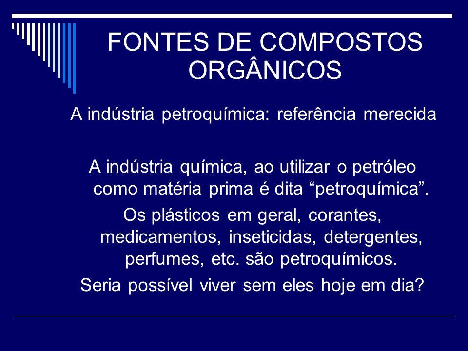 FONTES DE COMPOSTOS ORGÂNICOS A indústria petroquímica: referência merecida A indústria química, ao utilizar o petróleo como matéria prima é dita petroquímica.