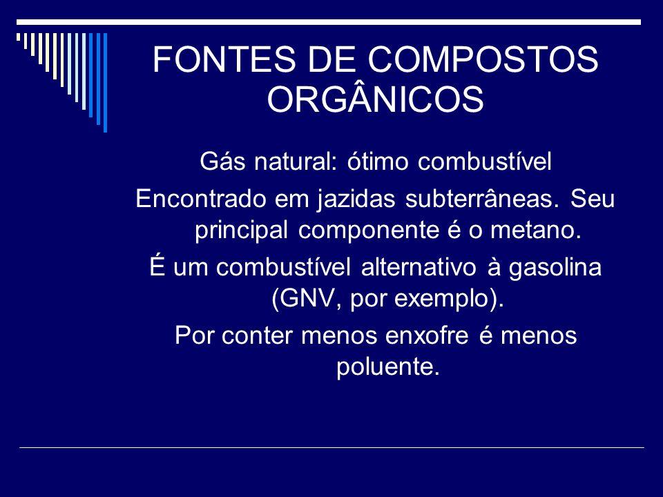 FONTES DE COMPOSTOS ORGÂNICOS Gás natural: ótimo combustível Encontrado em jazidas subterrâneas.