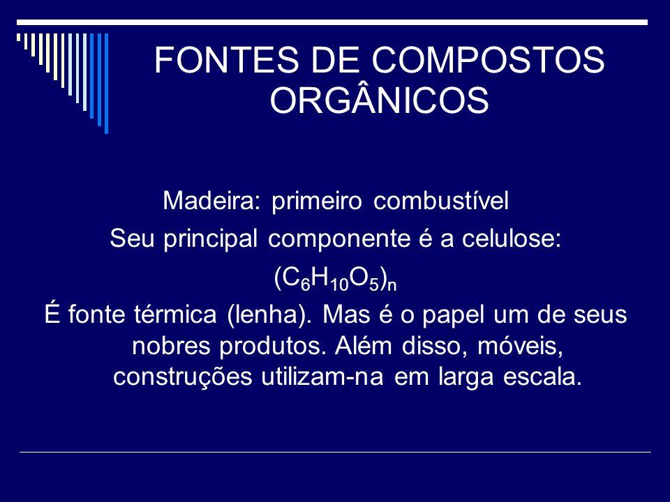 FONTES DE COMPOSTOS ORGÂNICOS Madeira: primeiro combustível Seu principal componente é a celulose: (C 6 H 10 O 5 ) n É fonte térmica (lenha).